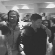 (gif) Jared Padalecki, Jensen Ackles, and Misha Collins at JIB Con 5 - 2014