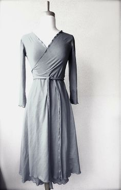 Long romantic wrap dress - handmade to order organic womens clothing on Etsy, $115.00