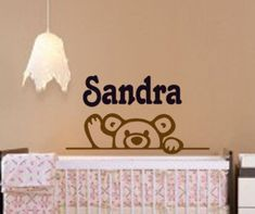 Baby girl nursery decor, teddy bear wall decal, girls name sticker, personalized baby room decal, boys name, girls bedroom, 15 X 28 inches by aluckyhorseshoe on Etsy