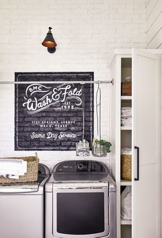 The laundry room Basement Laundry, Farmhouse Laundry Room, Laundry Rooms, Farmhouse Door, Farmhouse Design, Garage Laundry, Laundry Baskets, Laundry Area, Basement Storage