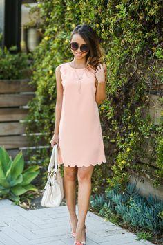 SCALLOP SHIFT DRESS
