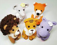 Amigurumi pattern baby lion ,tiger,hippo,elephant,fox