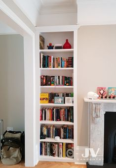 23 Alcove Shelving Ideas for your Living room | JV Carpentry Alcove Bookshelves, Alcove Shelving, Wall Shelving Units, Shelving Design, Shelving Ideas, Ikea Bookcase, Bookcases, Alcove Storage Living Room, Living Room Bookcase