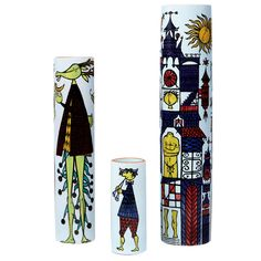 """1958 Three cylindrical faience vases from the """"Karneval"""" series by Stig Lindberg."""