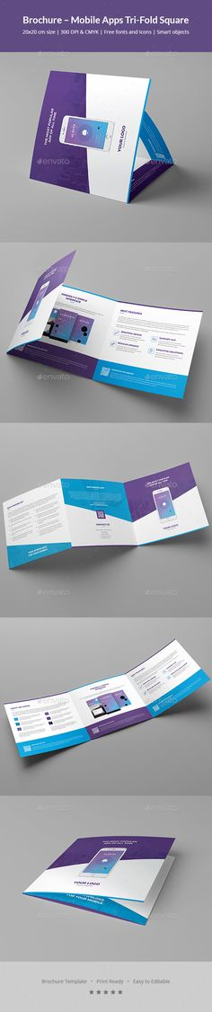 #Brochure – Mobile Apps Tri-Fold Square - #Informational #Brochures Download here: https://graphicriver.net/item/brochure-mobile-apps-trifold-square/20365949?ref=alena994