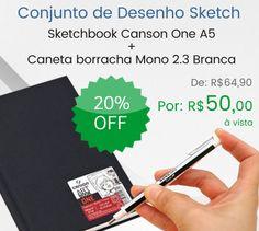 Conjunto ideal para rascunhos, desenhos em geral e para presentar!  O conjunto de Desenho Sketch é composto por: -01 Bloco Sketchbook e Esboço Canson One A5 14X21,6cm - Caneta Borracha Mono Zero Ehkus 2.3mm Branca