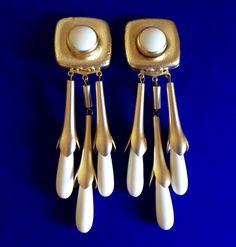 VINTAGE Chandelier Statement Earrings Gold Tone Clip Women Girls Fashion Jewelry #Unbranded #Chandelier