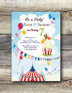 Carnival Cupcake Party Invitation  12 by StudioGStationery on Etsy, $21.60