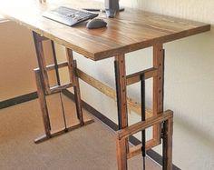 Adjustable Hardwood Standing Desk by tjrwoodshop on Etsy