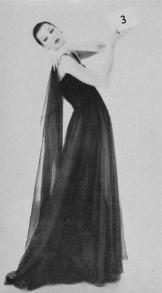 Chanel - 1956 - Dinner dress of Grecian simplicity in black chiffon - Realities Magazine
