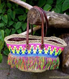 Embroidered Moroccan market Basket - Ibiza Beach Bag French market ...