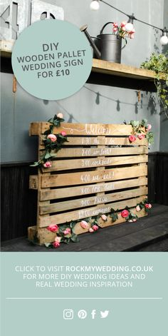 Here at Rock My Wedding we love a pallet wedding sign. And today we're showing you how to make a DIY Order of the Day for just using a wooden pallet. Order Of The Day Wedding, Wedding Day, Wedding Vows, Wedding Flowers, Wedding Timeline, Chic Wedding, Elegant Wedding, Destination Wedding, Wedding Dresses