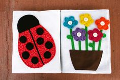 cute flower and lady bug page. love how they doubled the flowers and made a simple sewing line around edge.