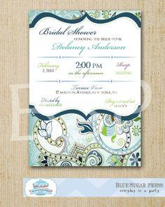 Moroccan Bridal Shower Invitations Floral by Bluesugarpress, $15.00