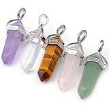 Top Plaza Natural Amethyst+ Rose Quartz + Tiger Eye+ Green Aventurine + Rock Crystal Healing Pendants for Jewelry Making - Jewelry, Fashion, Life Healing Crystal Jewelry, Crystal Pendant, Gemstone Jewelry, Gold Sand, Spiritual Jewelry, Green Aventurine, Rose Quartz, Rock, Amethyst