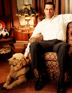 Jon Hamm, a beautiful golden by his side, and a wonderful 'back-to-the-future' room. Personally, I wouldn't ask for anything more.
