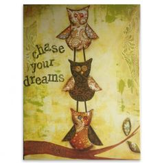 'Chase Your Dreams' - Owl Wall Art.