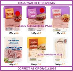 Tesco Wafer Thin Meats - Syn Free