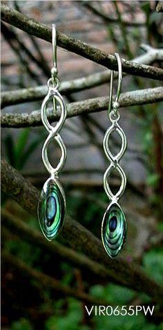 8 shape sterling silver earrings with Paua shell