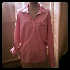 J Crew tunic Strawberry colored 100% cotton tunic. 6 buttons and one pocket.  Can wear sleeves down or rolled up. J. Crew Tops Tunics