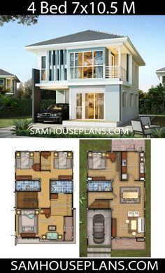 House design idea with 4 bedrooms - Sam House Plans - Architektur - Pinnwand Two Story House Design, 2 Storey House Design, Duplex House Design, Simple House Design, Modern House Design, Kerala House Design, Sims House Plans, House Layout Plans, Dream House Plans