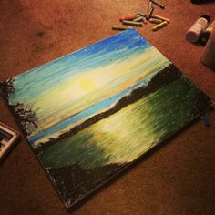 We are creating of painting what we want see.  My painting of a landscape using  oil pastels.