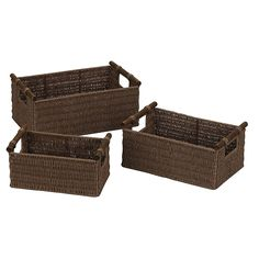 Amazon.com: Household Essentials Hand-Woven Paper Rope Baskets with Wood Handles, Dark Brown Stain, Set of 3: Home & Kitchen