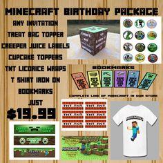 Minecraft Package, Minecraft Invitation, Minecraft Complete Set, Minecraft Birthday, Minecraft Party, Minecraft Invitation Set, 7 Items - #3 by KidzBdayInvites on Etsy https://www.etsy.com/listing/207222600/minecraft-package-minecraft-invitation
