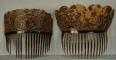 TWO CARVED and PIERCED NATURAL SHELL HAIR COMBS, 19th C.  Both large having finely detailed carving: One floral with scalloped border, seven...
