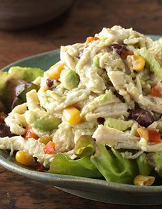 This Avocado and Corn #ChickenSalad is perfect for using leftover or rotisserie chicken.