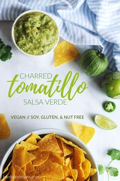 Charred Tomatillo Salsa Verde with Avocado is going to be your new favorite party appetizer!  Fresh, green, and delicious—it's the perfect for pairing with tacos, bowl meals, and chips!