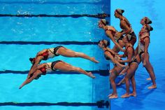 Brazil compete during the Synchronized Swimming Team Free Final on day seven of the 15th FINA World Championships at Palau Sant Jordi on July 26, 2013 in Barcelona, Spain.