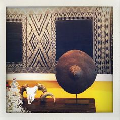 "Galerie Patrick Mestdagh on Instagram: ""We are delighted that our rare 19th-century Sudan Bedja shield has found a new home! Pictured here with an #andresmoraga textile.…"" African Art, 19th Century, New Homes, Textiles, Interiors, Display, Pictures, Painting, Instagram"