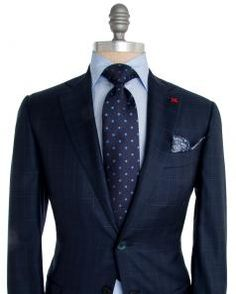 Image of Isaia Blue Check with Aqua Windowpane Suit