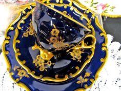 GERMANY TEA CUP AND SAUCER TRIO COBALT BLUE & ETCHED GOLD GILT TEACUP ROSE