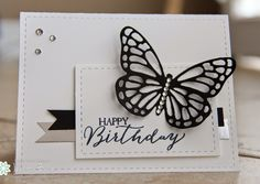 striking B&W card, black butterfly. like the sequins in the corner