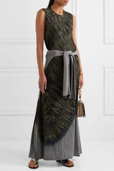Raquel Allegra - Tie-dyed Cotton-blend Jersey Maxi Dress - Army green