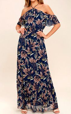Trip to Paradise Navy Blue Floral Print Maxi Dress via @bestmaxidress
