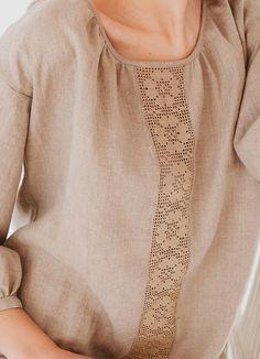 Peasant Linen Shirt/ Loose Fit Blouse/ Oversized Top/ Natural Undyed Color/ Long sleeves/ Flax Top F Linen Tunic, Linen Blouse, Cotton Linen, Kurti Neck Designs, Shirt Blouses, Shirts, Peasant Tops, Fitness Fashion, Blouses For Women