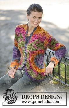 "Ravelry: Cardigan in ""INKA"" pattern by DROPS design - women Life ideas Cardigan Au Crochet, Gilet Crochet, Crochet Coat, Crochet Jacket, Cardigan Pattern, Crochet Shawl, Crochet Clothes, Crochet Sweaters, Cardigan Design"