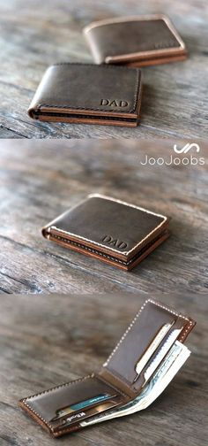 Personalized Men's Leather Wallet. This engraved leather wallet is the perfect men's gift. This custom wallet will be displayed with pride for years to come. It's a great gift for groomsmen, boyfriends, husbands and fathers alike. The 'DAD' is just a sample. You get to choose the initials that go on the wallet. Or a monogram, or a logo, or a small quote....you get the picture.
