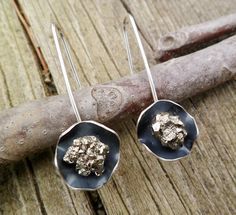 Pyrite Earrings. Sterling Silver And Pyrite Earrings by Unics