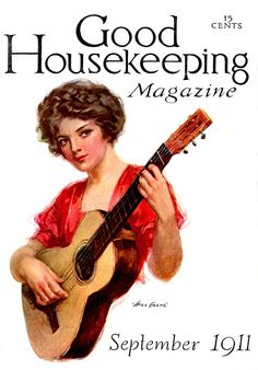 Good Housekeeping 1911-09 Woman playing a guitar. Artist: Will Grefé Source: ebay seller powerangers Restoration by: magscanner Owner: Magazine Art Gallery Administrator Full size: 650x931