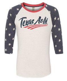 Texas A&M Aggies Swoosh Stars 3/4 Sleeve Baseball Tee