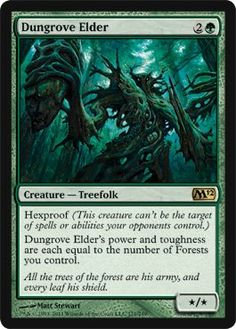 Magic: the Gathering - Dungrove Elder - Magic 2012 by Wizards of the Coast. $2.83. From the Magic 2012 (M12) set.. A single individual card from the Magic: the Gathering (MTG) trading and collectible card game (TCG/CCG).. This is of Rare rarity.. Magic: the Gathering is a collectible card game created by Richard Garfield. In Magic, you play the role of a planeswalker who fights other planeswalkers for glory, knowledge, and conquest. Your deck of cards represents all...