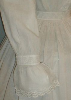 """Cuff detail - Heavenly 1860s Civil War Era White Cotton Dress 