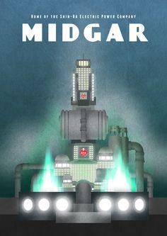 Midgar - Final Fantasy VII inspired poster - Gamer Print