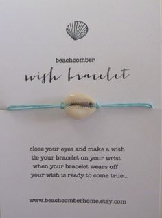 beachcomber wish bracelet or anklet lucky cowrie shell by beachcomberhome, $8.00