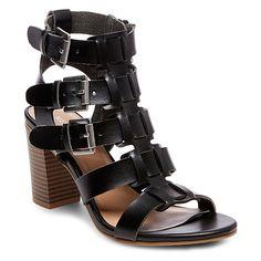 Women's Cassandra Buckle Heel Sandal Pumps Merona - Black 7.5