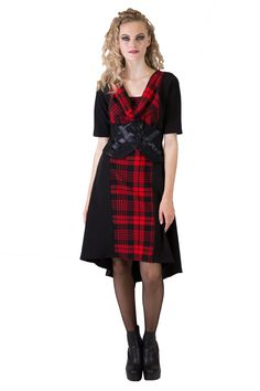 This stunning dress is made with a shaped in waist for a curvaceous fit, and flares gently over the hips to finish in a dropped back hemline. Plaid Dress, Stunning Dresses, Faeries, Hemline, Vintage, Collection, Fashion, Moda, Check Dress